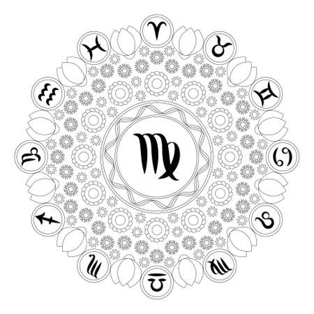 vector black and white round geometric mandala with zodiac symbol of virgo - adult coloring book page