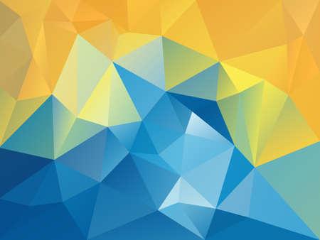 벡터 맑은 휴가에 삼각형 패턴으로 추상 불규칙 한 다각형 배경 파란색 노란색 색상 일러스트