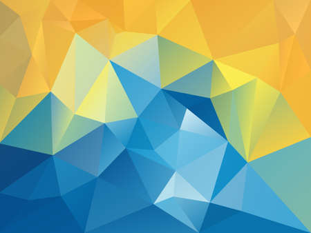 vector abstract irregular polygon background with a triangle pattern in sunny holiday blue yellow color Illusztráció