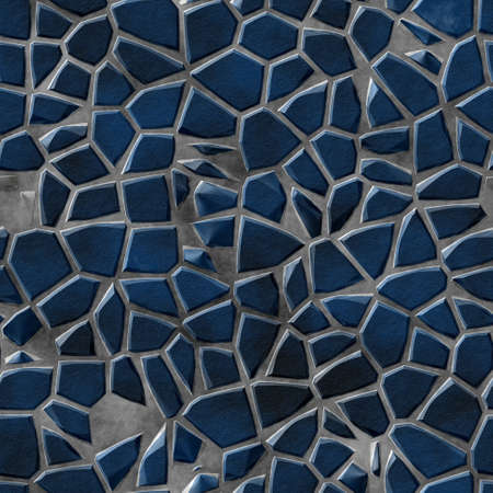 tessellated: natural colored floor marble irregular plastic stony mosaic pattern texture seamless background with gray grout - dark blue colors