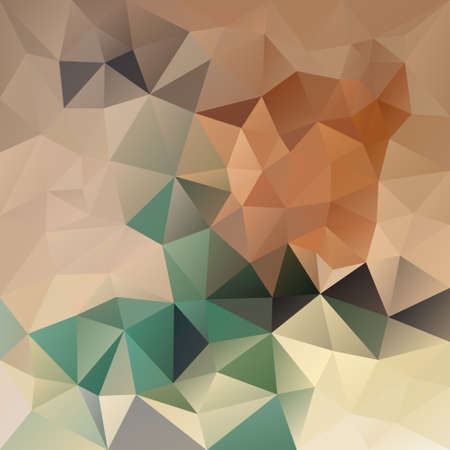 vector retro abstract irregular polygon background with a triangle pattern in brown beige green color