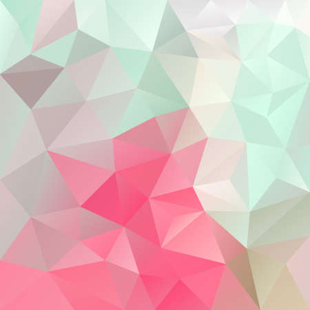 vector retro abstract irregular polygon background with a triangle pattern in light green, beige and pink color