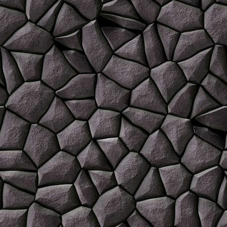 cobble stones irregular mosaic pattern texture seamless background - pavement dark gray natural colored
