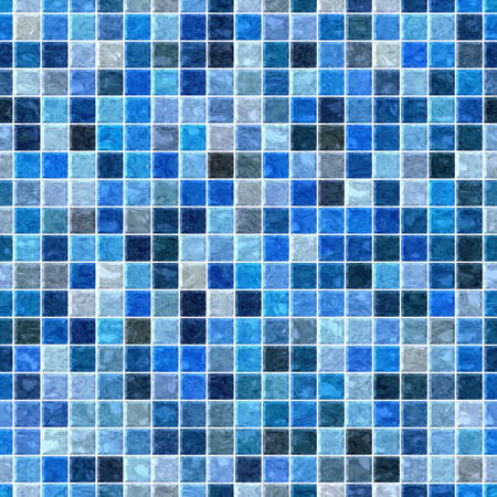 sea colored floor marble  checked plastic stony mosaic pattern texture seamless background with white grout - blue colors
