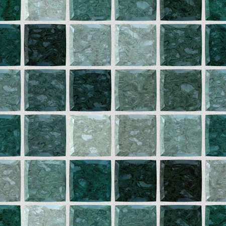 colored floor marble checked stony mosaic pattern texture seamless background with white grout- dark green colors
