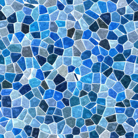 flooring: sea colored floor marble irregular plastic stony mosaic pattern texture seamless background with white grout - blue colors Stock Photo