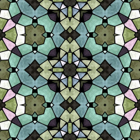 emboss: mosaic kaleidoscope seamless pattern texture background - full colored with black grout Stock Photo