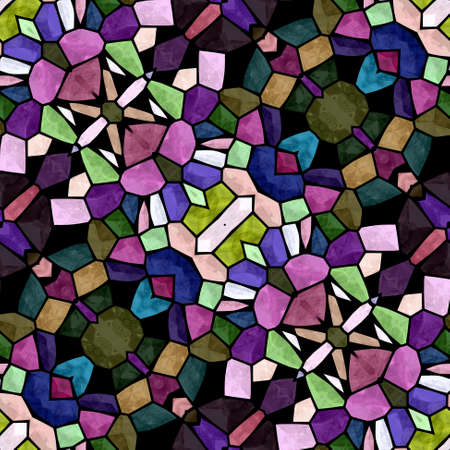 glasswork: mosaic kaleidoscope seamless pattern texture background - full multi color colored with black grout Stock Photo