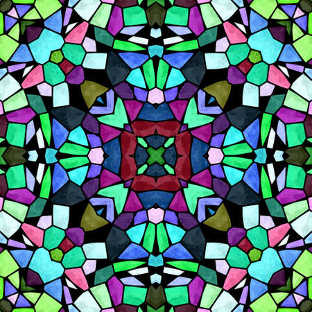 glasswork: mosaic kaleidoscope seamless pattern texture background - multi colored with black grout Stock Photo