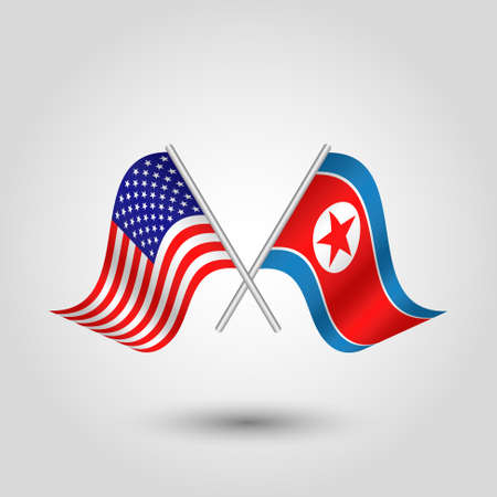 vector waving simple triangle two crossed american and korean flags on slanted silver pole - icon of united states of america and north korea   Illustration