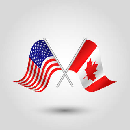 vector waving simple triangle two crossed american and canadian  flags on slanted silver pole - icon united states of america and canada Stock Illustratie