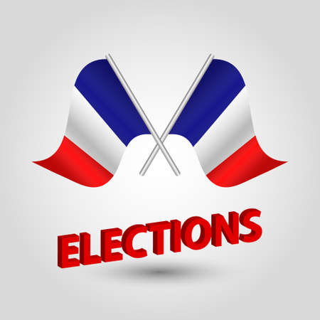 vector waving simple triangle two crossed french flags on slanted silver pole - icon of france and red 3D title elections  イラスト・ベクター素材
