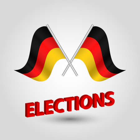 vector waving simple triangle two crossed german flags on slanted silver pole - icon of germany and red 3D title elections  イラスト・ベクター素材