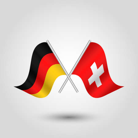 cross match: vector two crossed german and swiss flags on silver sticks - symbol of germany and switzerland