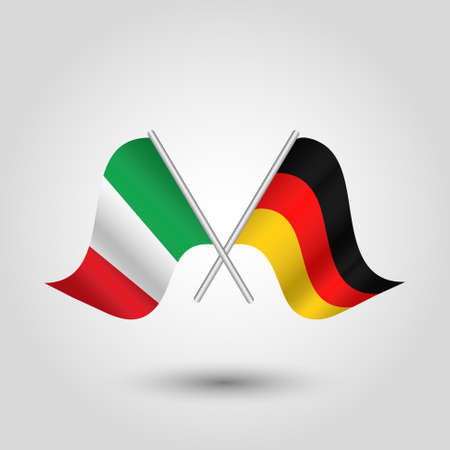 cross match: vector two crossed italian and german flags on silver sticks - symbol of italy and germany