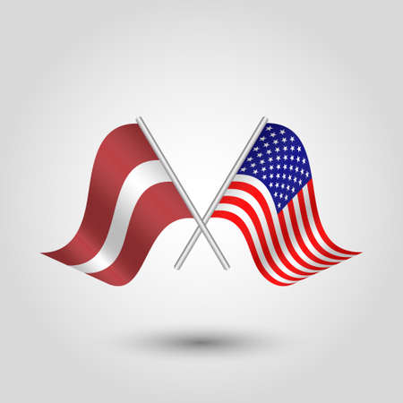 vector two crossed latvian and american flags on silver sticks - symbol of latvia and united states of america Illustration