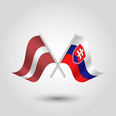 vector two crossed latvian and slovak flags on silver sticks - symbol of latvia and slovakia