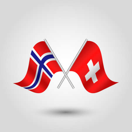 cross match: vector two crossed norwegian and swiss flags on silver sticks - symbol of norway and switzerland