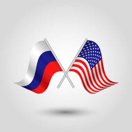 cross match: vector two crossed russian and american flags on silver sticks - symbol of russia and united states of america Illustration