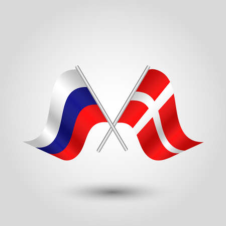 cross match: vector two crossed russian and danish flags on silver sticks - symbol of russia and denmark
