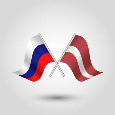 vector two crossed russian and latvian flags on silver sticks - symbol of russia and latvia Illustration