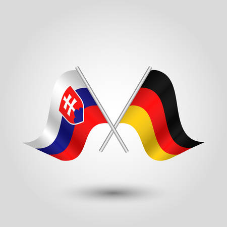 vector two crossed slovak and german flags on silver sticks - symbol of slovakia and germany