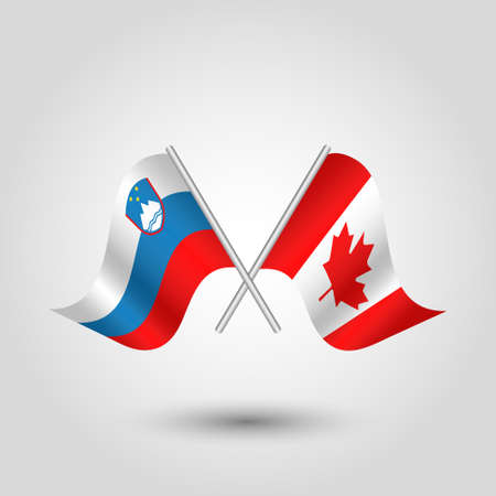 vector two crossed slovenian and canadian flags on silver sticks - symbol of slovenia and canada