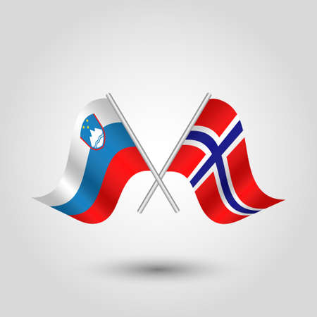 벡터 두 개의 슬로베니아어와 노르웨이 플래그 슬로베니아와 노르웨이의 상징에 실버 스틱 - 교차