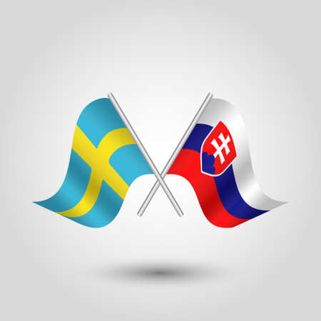 vector two crossed swedish and slovak flags on silver sticks - symbol of sweden and slovakia Illustration