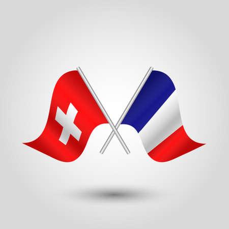 vector twee gekruiste Zwitserse en Franse vlaggen op zilveren stokken - symbool van Zwitserland en Frankrijk Stock Illustratie