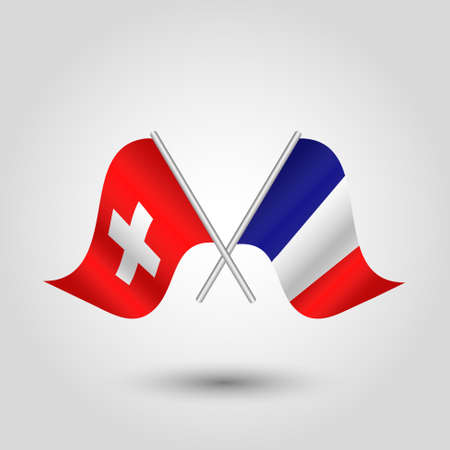 vector two crossed swiss and french flags on silver sticks - symbol of switzerland and france