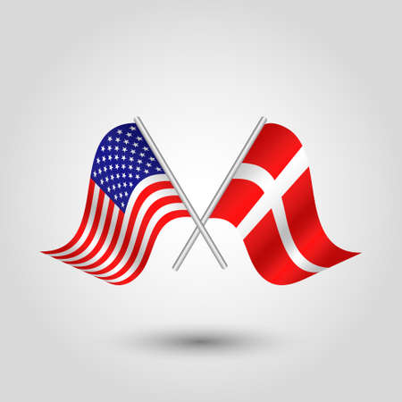 vector two crossed american and danish flags on silver sticks - symbol of united states of america and denmark Illustration