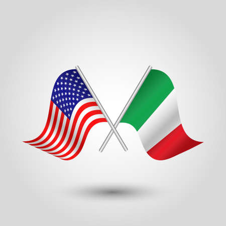 vector two crossed american and italian flags on silver sticks - symbol of united states of america and italy