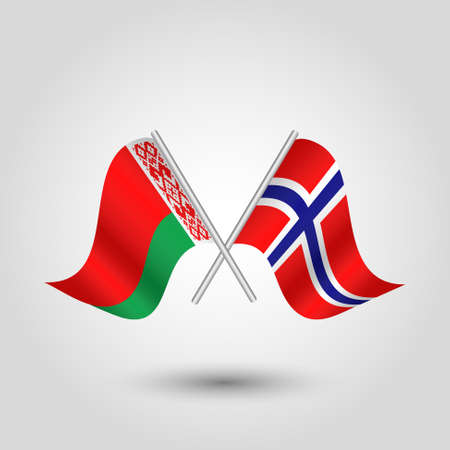 vector two crossed belarusian and norwegian flags on silver sticks - symbol of belarus and norway Illustration