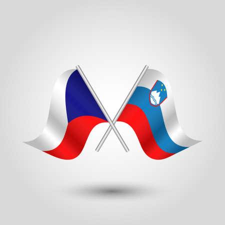 벡터 두 은색 막대기 - 체코 공화국과 슬로베니아의 상징에 체코와 슬로베니아어 플래그를 넘어 일러스트