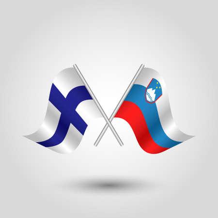 벡터 실버 스틱 - 핀란드 및 슬로베니아의 상징에 두 개의 핀란드어와 슬로베니아어 플래그를 넘어