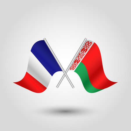 cross match: vector two crossed french and belarusian flags on silver sticks - symbol of france and belarus