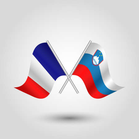 slanted: vector two crossed french and slovenian flags on silver sticks - symbol of france and slovenia