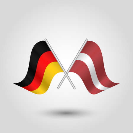 cross match: vector two crossed german and latvian flags on silver sticks - symbol of germany and latvia