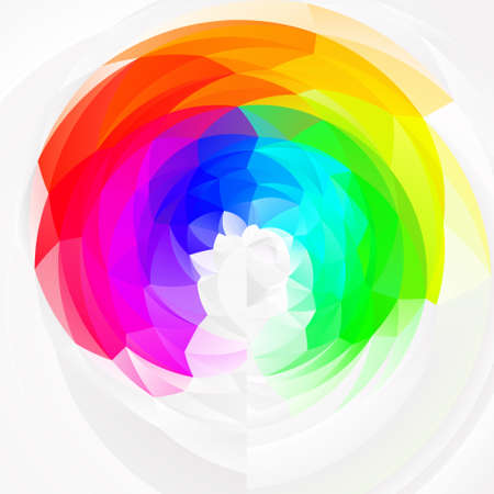 abstract modern art geometric swirl  full spectrum rainbow colored - white background