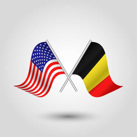 vector two crossed american and belgian flags on silver sticks - symbol of united states of america and belgium