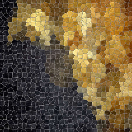 flooring: abstract nature marble plastic stony mosaic tiles texture background wit gray grout - black and gold color gradient Stock Photo