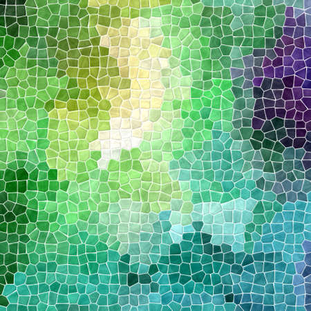 abstract nature marble plastic stony mosaic tiles texture background with white grout - fresh spring green, blue, purple and yellow multicolor