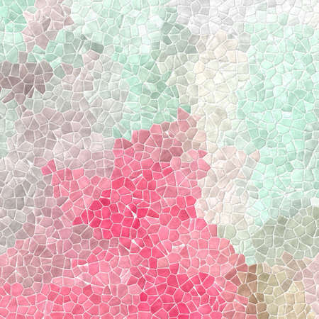abstract nature marble plastic stony mosaic tiles texture background with white grout - light pink, mint green, beige and gray colors