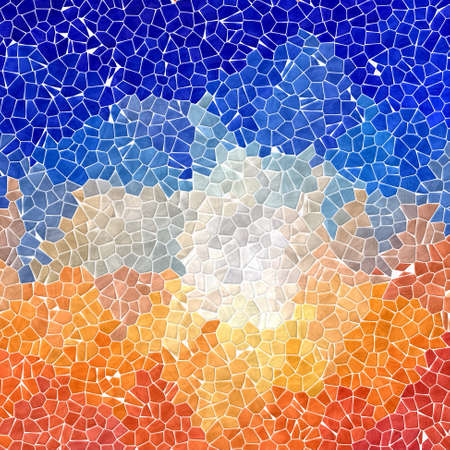 abstract nature marble plastic stony mosaic tiles texture background with white grout - vibrant orange and sky blue colors Stock Photo