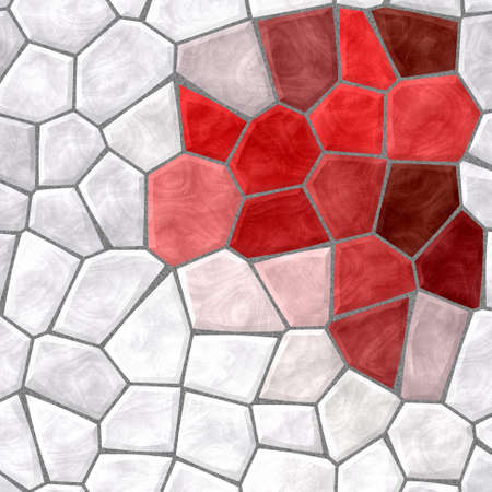 tessellate: abstract nature marble plastic stony mosaic tiles texture background with gray grout - white and red colors