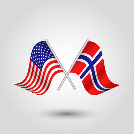 vector two crossed american and norwegian flags on silver sticks - symbol of united states of america and norway