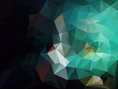 vector abstract irregular polygon background with a triangle pattern in black, green, blue and aquamarine color  Illustration