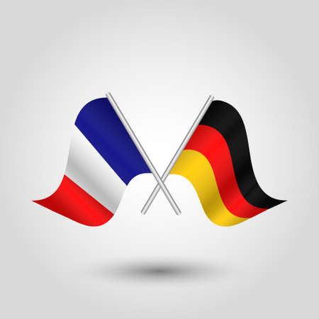 vector two crossed french and german flags on silver sticks - symbol of france and germany
