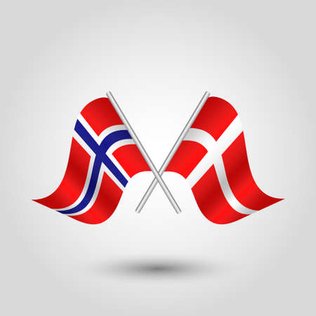 cross match: vector two crossed norwegian and danish flags on silver sticks - symbol of norway and denmark